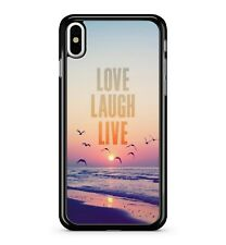 Love Laugh Live Quote Ocean Beach Sunset Birds Scenery View 2D Phone Case Cover
