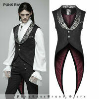 PUNK RAVE Men Gothic Swallow Tail Retro Vest Steampunk Vintage Waistcoat Jacket