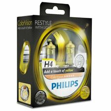 2x Yellow H4 Headlight Bulbs PHILIPS 12342CVPYS2 ColorVision 12V 60/55W P43t