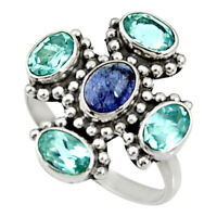 5.11cts Natural Blue Tanzanite Topaz 925 Sterling Silver Ring Size 8 D35473