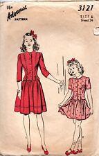 1940s Advance Sewing Patterns 3121 Girls Dress Size 6 Breast 24