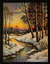 Original Large WINTER SCENE By W.M. Thompson