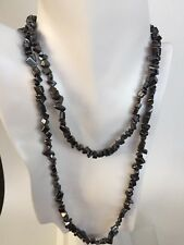 Genuine Hematite Tumbled Nugget/Chip Necklace 40 Inches - No Clasp