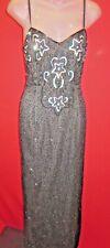 ~Vtg Pin Up Girl Black Silk Beaded Formal Dress Sz S Silver Paillette Stars~