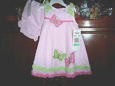 (2 pc) RARE EDITIONS Pink DRESS /BLOOMERS- Butterflies Sundress NWT 24