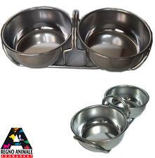 Ciotola Per Cane e Gatto Acciaio Inox 2x450ml Mangiatoia Cane Gatto Frabosk