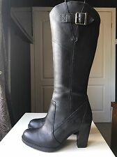 Timberland Black Leather Knee High Boot Size 6 39 Heel Waterproof Women Ladies