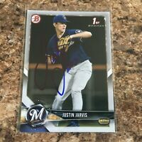 Justin Jarvis Signed 2018 Bowman Draft Rc Auto Milwaukee Brewers