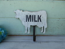 Farmhouse Wood COW Cutout MILK Sign w/ HOOK Barnyard Dairy Primitive WALL Decor