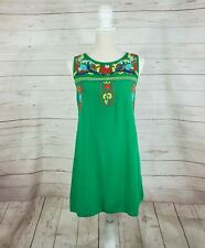 Jodifl Green Mexican Floral Embroidered Dress Womens M Sleeveless Tunic Babydoll