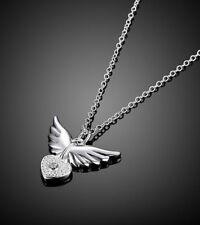 Neue Halskette Sterling silber Flügel Herz Schmuck Frauen Kristall Strass Damen