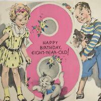 Vintage Mid Century Birthday Greeting Card Rust Craft Cute Little Boy Girl 8 Yrs