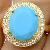 Sparkling Oval Turquoise Halo Ring Women Wedding Jewelry 14K Yellow Gold Plated