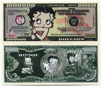 Betty Boop 1 Million Dollars Color Novelty Money Note