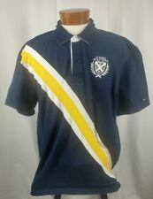 Tommy Hilfiger Men's Short Sleeve Polo Shirt Navy Blue White Yellow Cotton XXL