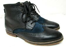 Satori men's size US 11-12 EU 45 leather ankle boots wing tip blue and black