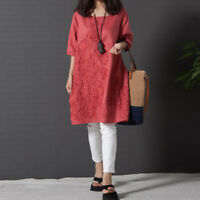 Ladies Floral Embroidered Linen Dress Baggy Short Sleeve Blouse Tunic Tops Shirt