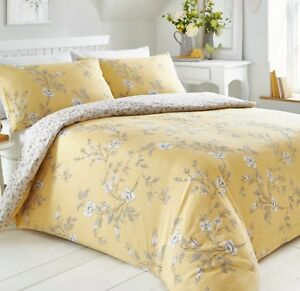 FLORAL VALE OCHRE YELLOW REVERSIBLE  DUVET COVER SET CHOICE DOUBLE OR KING SIZE