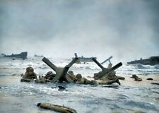 US Troops D-Day Normandy Omaha Beach Colorized  WW2 WWII Re-Print 4x6 #1048