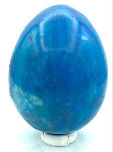 MAGNIFIQUE OEUF EN JASPE - 14 - teinté bleu
