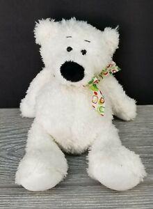 "Ganz White Bear Named Mini Tubby Tummy Plush Stuffed Animal 9"" Long 6"" Sitting"