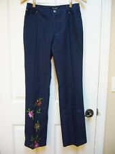 New Betsey Johnson Embroidered Sequin Applique Jeans Size 6