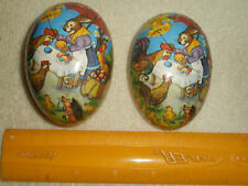 Vintage Paper Mache Easter Egg Made In German Democratic Republic Bunny Roosters