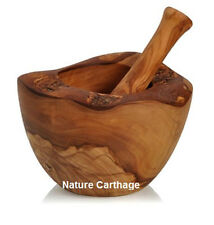 Cadeau Maman - Mortier rustique et pilon en bois d'olivier 12 cm- Idée cadeau