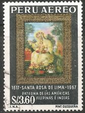Peru Air Post Stamp - Scott #C215/Ap84 3.60s Blk, Gold & Multi Canc/Lh 1967