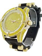 Men New Lab Diamond Ice Master Gold Finish Jelly  Bullet Band  Watch Free Ship