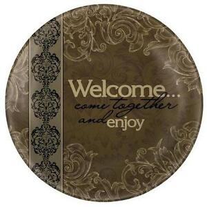 """WELCOME, Come Together Plate by CARSON Home Accents 14"""" w/ black metal Stand"""