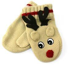 Childrens Wooly Gloves ~ Reindeer Christmas Mittens - Beige
