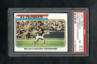 1974 TOPPS #479 A'S CELEBRATE WORLD SERIES SUMMARY PSA 8 NM/MT++SHARP CARD!