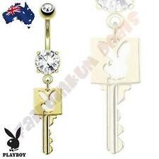 14kt Gold Plated Authentic Die-Cut Playboy Bunny Key Belly Dangle