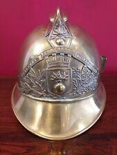 More details for antique real old french brass fireman hat helmet pompiers sapuers de sebouville