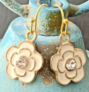 Beautiful Ivory Flowers with Rhinestones and Gold Trim Dangle Earrings.