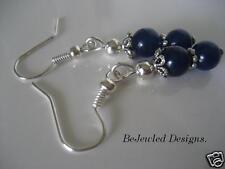 Gemstone Earrings Lapis Lazuli and Tibetan  Pierced or Clip On you choose