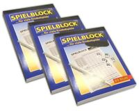3er Set Knobel Spielblock je 80 Blatt | Spiel Spielzettel | Block