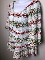 Lapis Embroidered Lace Peasant Top M BOHO  Ruffle Hem Tunic Pink Floral White