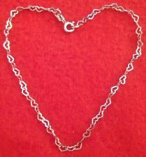 """Sterling Silver Heart chain link anklet 8 3/4"""""""