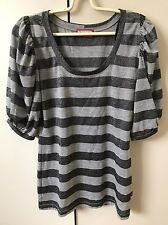 Review Women's Knit Jumper Blouse Top SiZe 8-10 Grey Silver Striped