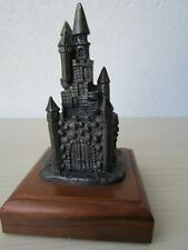 MICHAEL RICKER PEWTER CASTLE PAPERWEIGHT SIGNED & DATED 1987