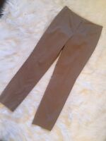 Chico's Womens Sz 0.5 Beige Brown Flat Front Casual  Pants Stretch Cotton