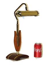 VINTAGE MCM Danish Modern Brass & Figural Teak or Walnut Desk Lamp