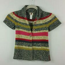 Tea Girls 8 Months Multi Color Striped Sweater Pima Cotton Nihon Short Sleeve