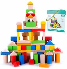 Kids Blocks Wooden 100 Piece Building Toy Toddler Learn STEM Boy Girl Gift New