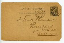 France postal stationery postcard used 1891 Paris to Germany (T776)