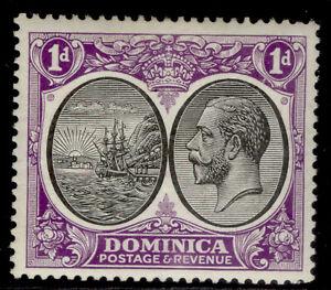 DOMINICA GV SG72, 1d black & bright violet, LH MINT.