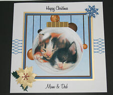 HANDMADE PERSONALISED CHRISTMAS CUTE CATS LARGE CARD 8X8