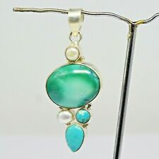 925 Sterling Silver Turquoise, Pearl Gemstone Pendant 12.28 gms Jewelry CCI